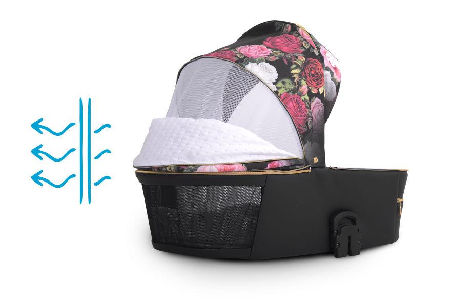 wózek Lonex Pax Rose nowość dziecięcy wielofunkcyjny gondola w kwiaty