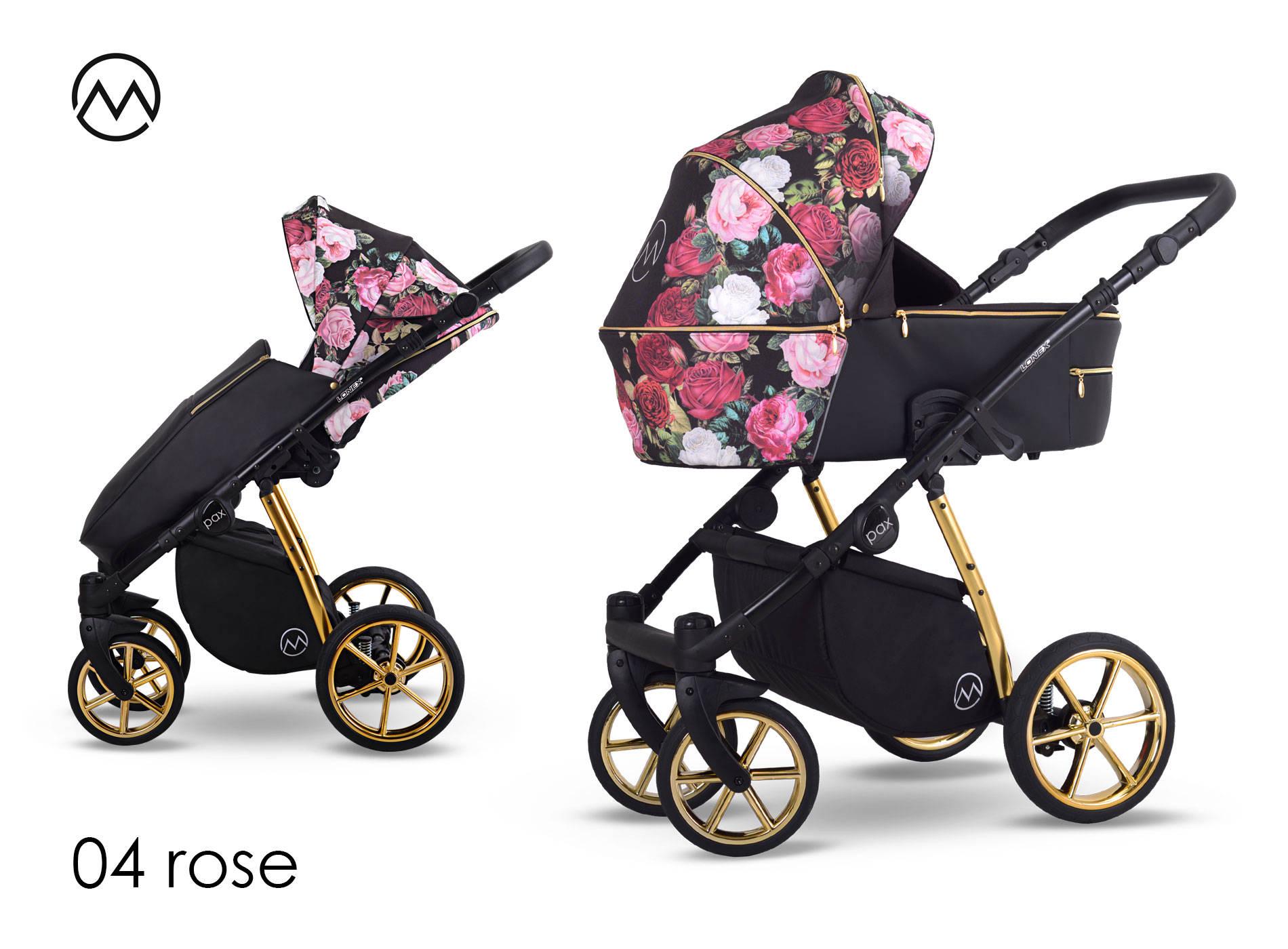 wózek dziecięcy Lonex Pax Rose wielofunkcyjny nowość gondola spacerówka w kwiaty Dadi Shop