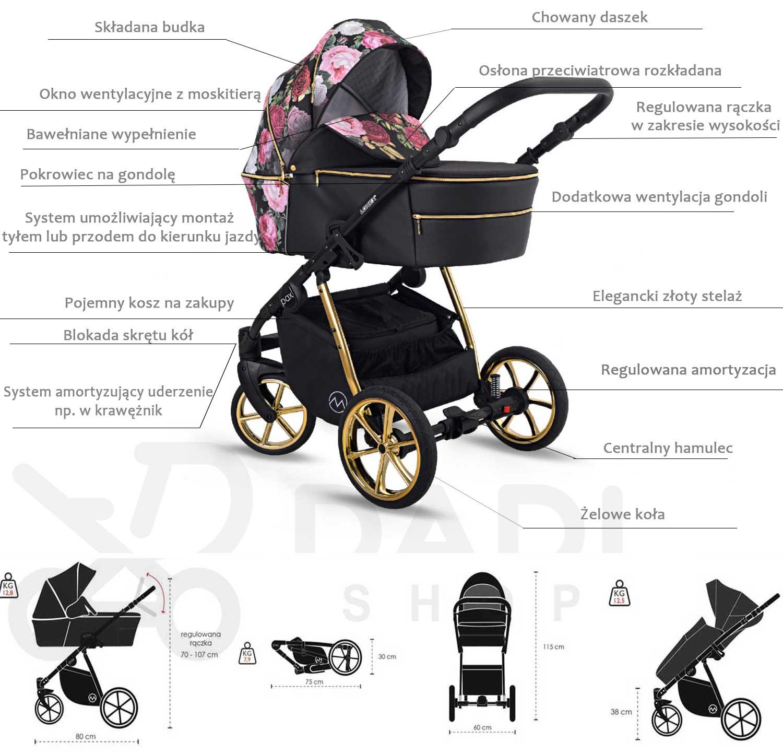 wózek Pax Rose Lonex dziecięcy wielofunkcyjny opis Dadi Shop nowy wózek pax w kwiaty