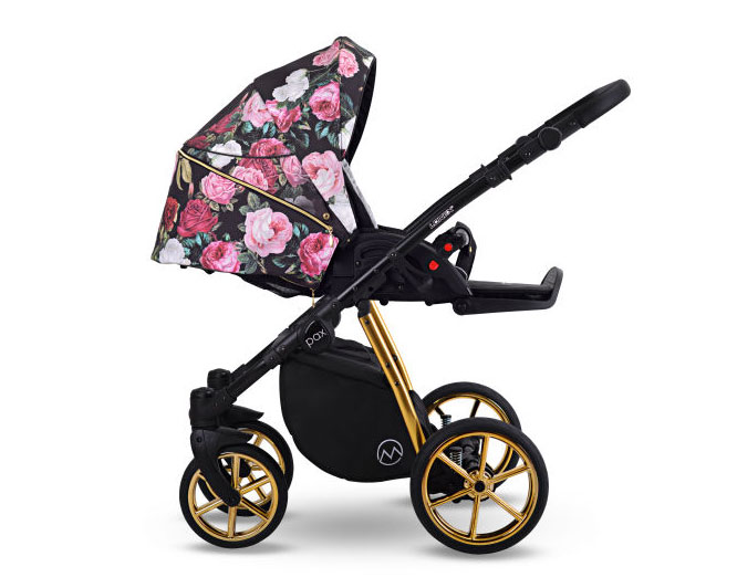 Pax Rose wózek dziecięcy wielofunkcyjny Lonex w kwiaty nowy elegancki