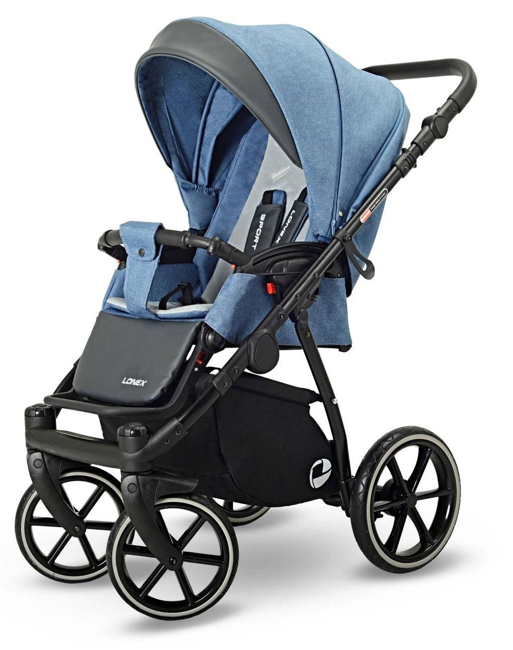 Lonex Sport niebieski spacerowy wózek dziecięcy