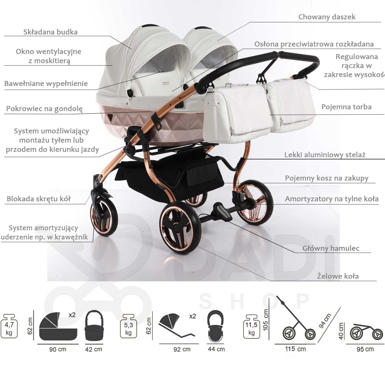 wózek bliźniaczy wielofunkcyjny Junama Mirror Satin Duo  opis Dadi Shop