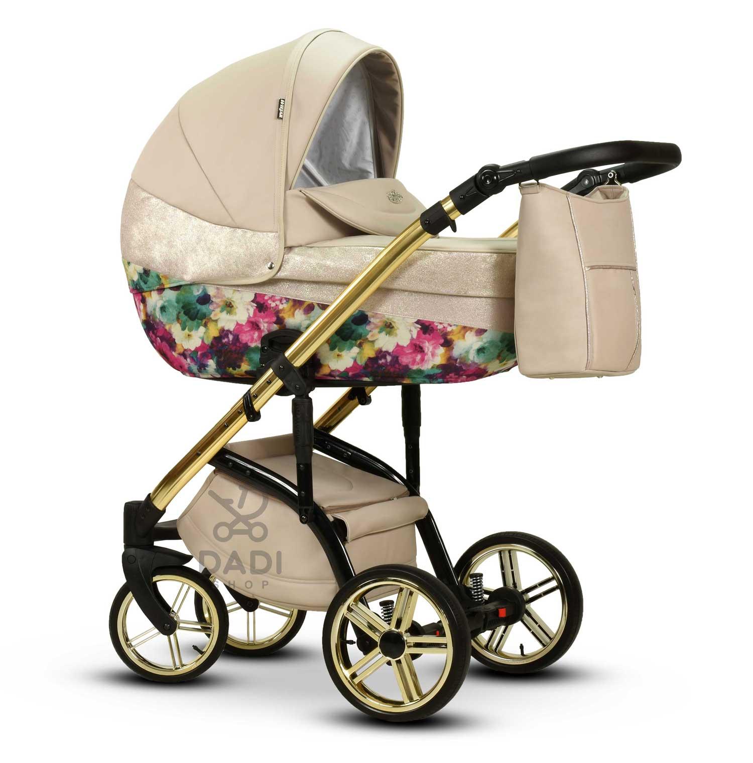 Moloka Duo nowoczesny wózek dziecięcy w kwiaty Wiejar głeboko spacerowy