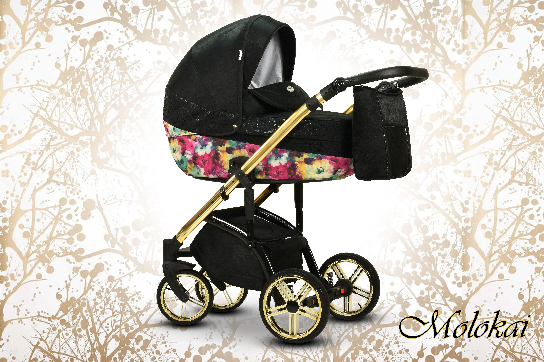 Molokai Wiejar wielofunkcyjny wózek dziecięcy Dadi Shop czarny w kwiaty
