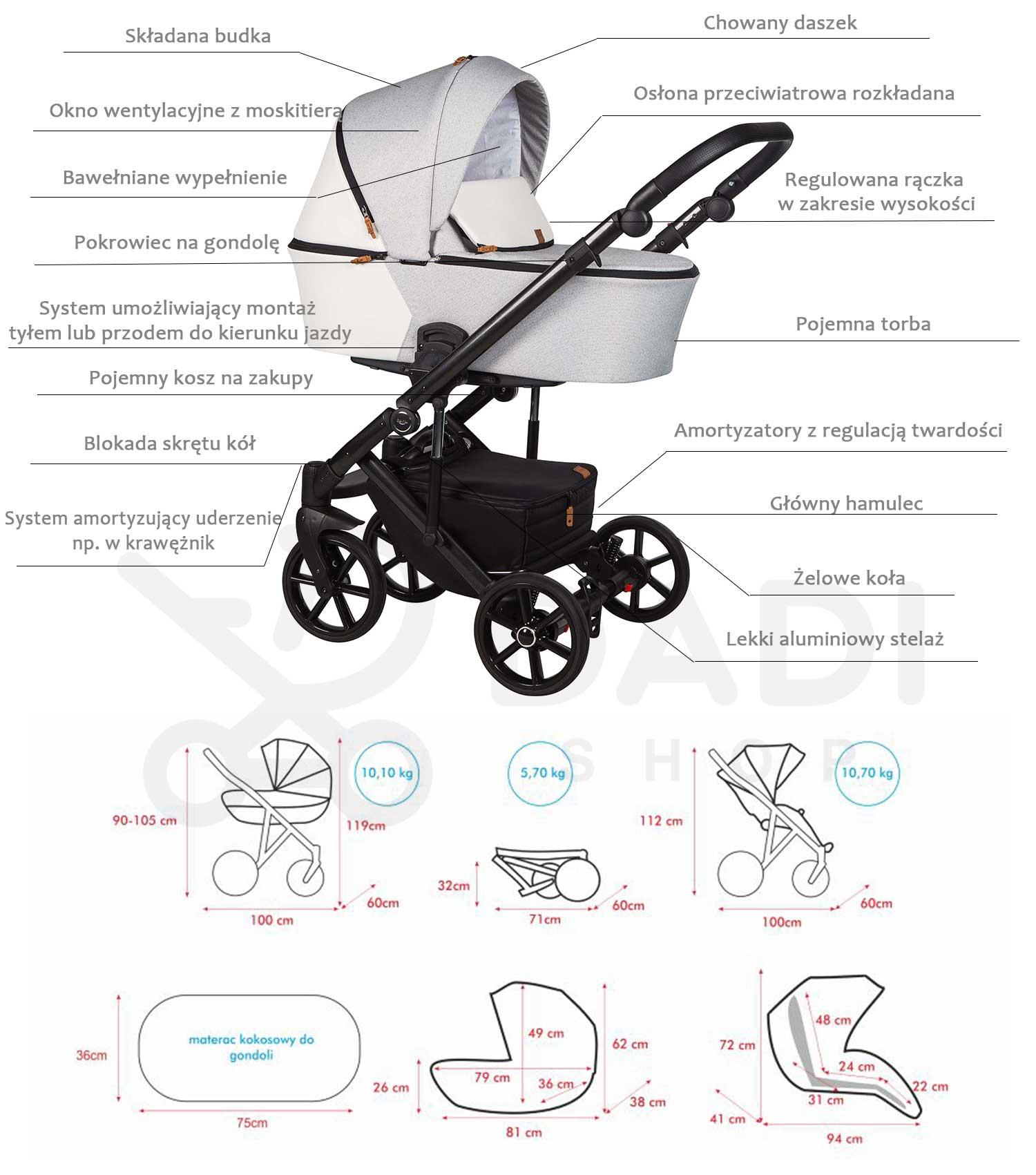 wózek dziecięcy baby Merc Mosca LE funkcje