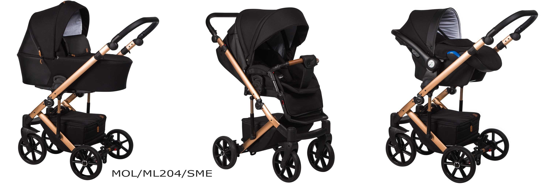 wózek Mosca LE Baby Merc czarny złota rama