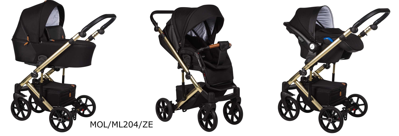 wózek Mosca LE Baby Merc czarny na srebrnej ramie