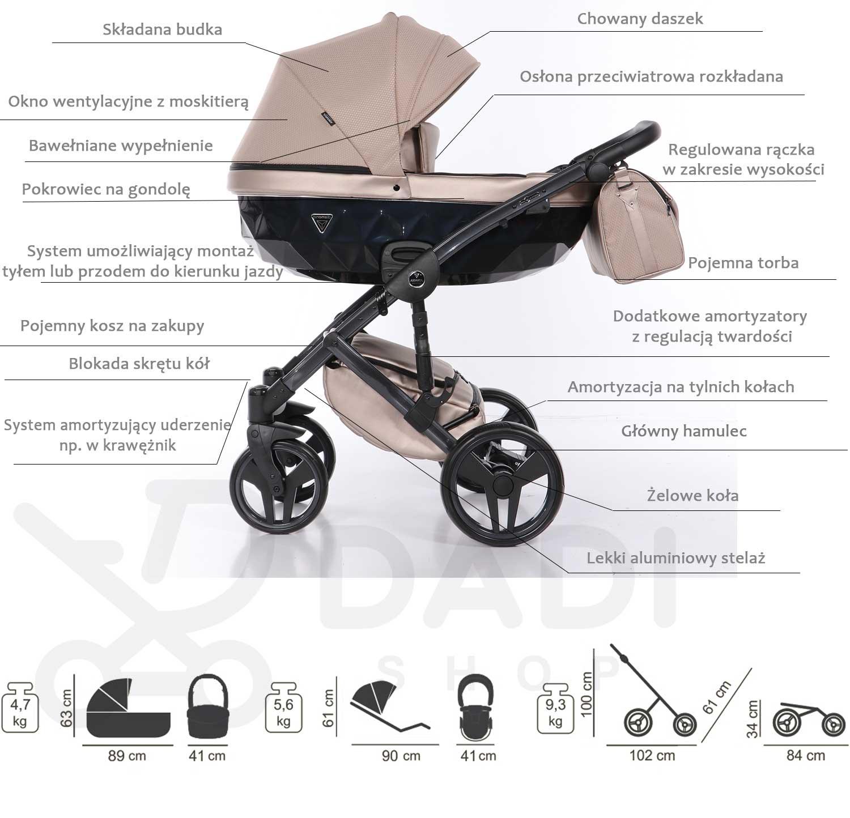 wózek Saphire wielofunkcyjny dziecięcy model Junama opis wózka Dadi Shop